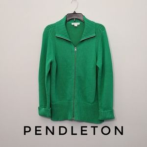 Pendelton Green Cardigan Sweater Full Zip Jacket L